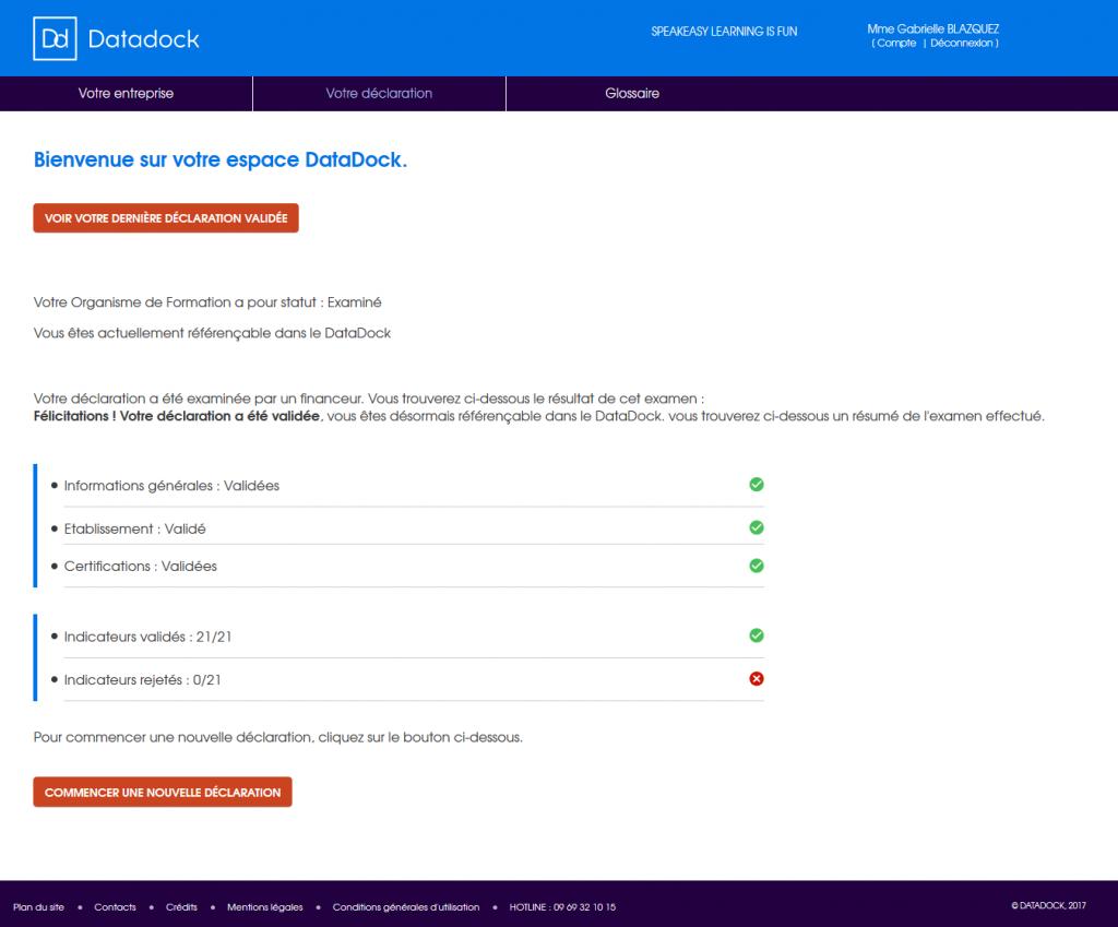 Capture d'écran de la déclaration-validation Datadock de Speakeasy - Learning is fun